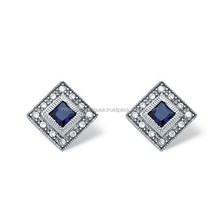 925 Sterling Silver Earrings Princess-Cut Sapphire and Cubic Zirconia Earrings in Platinum over Sterling Silver