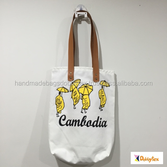Dobbytex Cambodia Monk Zippy Canvas tote bag with leather strap