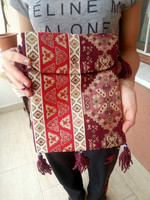 TURKISH KiLiM RUG CARPET DESIGN SHOULDER BAG WiTH TASSELS & EViL EYE BEADS