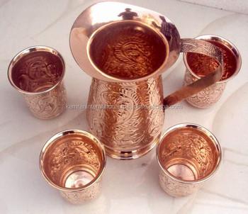 100% COPPER EMBOSSED PITCHER WITH FOUR COPPER EMBOSSED TUMBLERS FOR WATER, BEER, MOSCOW MULE, GINGER VODKA