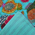 Turquoise Color KANTHA QUILT FLORAL COTTON BEDSPREAD BLANKET THROW COVERLET Flower
