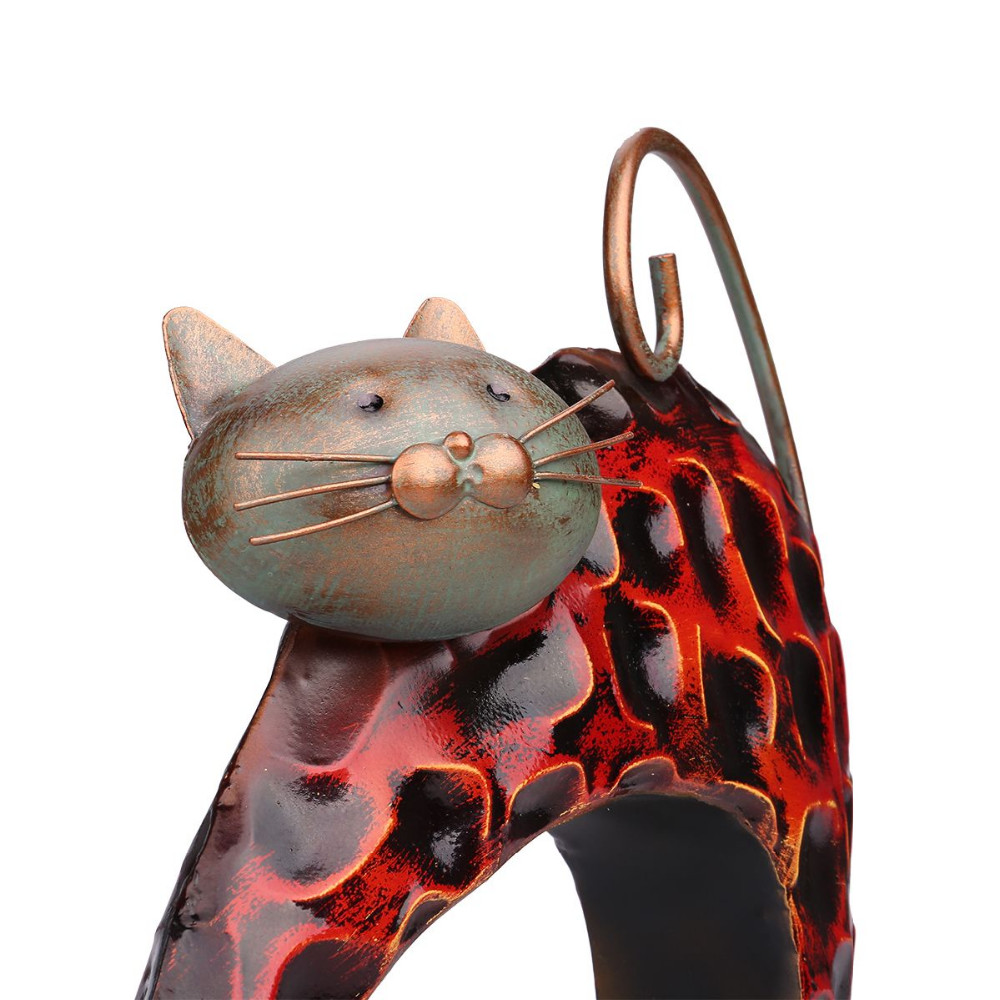 TOOARTS Iron sculpture Abstract sculpture Lazy cat Animal sculpture Crafting Home furnishing articles Handicrafts Art A020