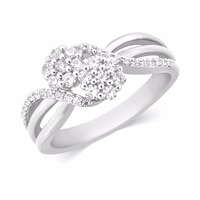 10K White Gold Natural Diamond Engagement, Wedding, Anniversary Ring. Also Available in 9K, 14K and 18K Yellow and Rose Gold
