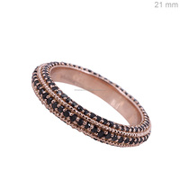 Solid 14k rose gold black diamond engagement band ring