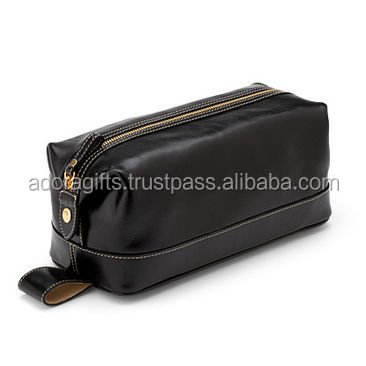 Black leather women cosmetic makeup bag with debossed logo / Womens Leather Fashionable Cosmetic Bag Perfect for Evening Event