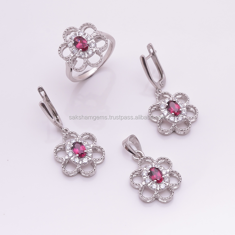 925 Sterling Silver Natural Red Garnet Pendant Ring Earring Jewelry Set,Flower Design Wholesale Cubiz Zirconia CZ Jewelry Set