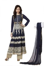 Girlish Blue And Cream Color Georgette Semi-Stitched Full Sleeves Long Salwar Kameez
