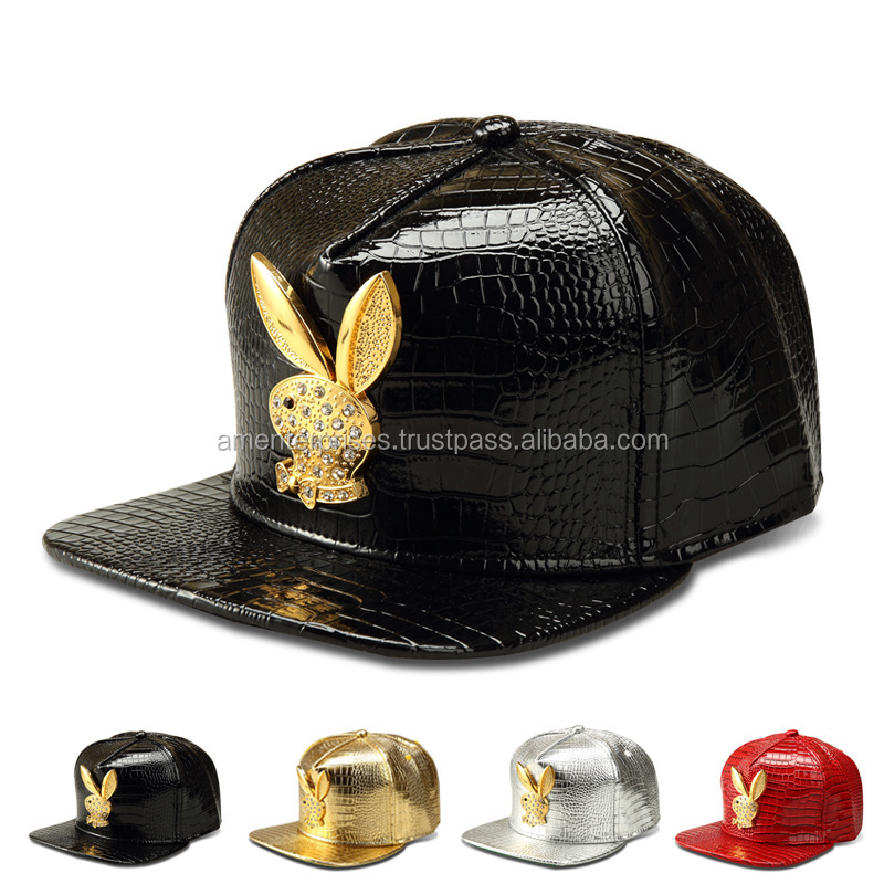 2017 leather snapback caps - fashion black leather bill snapback caps - Leather custom snake skin brim snapback cap -