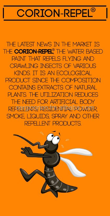 MOSQUITO REPELLENT ACRYLIC PAINT WITH NATURAL EXTRACTS - CORION REPEL (Also Waterproofing, Anti: Bacteria, Acaro, Fungus)