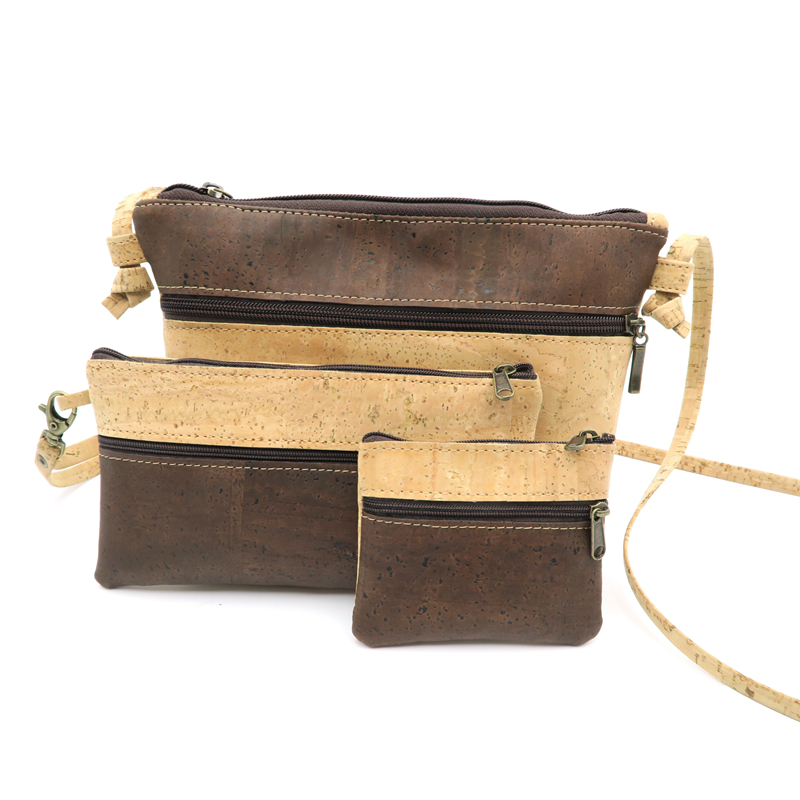Natural cork handmade Messenger bag+ Coin Purse+ Phone wallet Cork bags set Wooden vintage bag-65 from Portugal