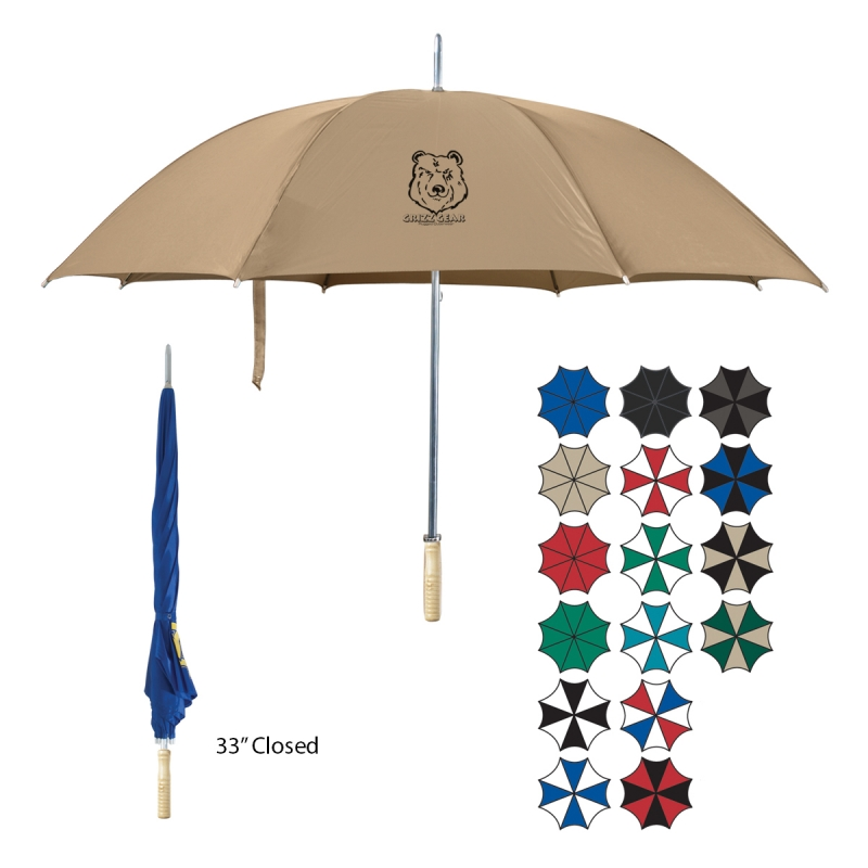"48"" Arc Automatic Open Umbrella - nylon canopy, 33"" long, has a metal shaft with wooden handle and comes with your logo"