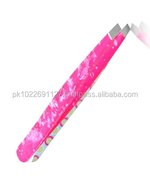 Stainless Steel Hair Removal Pink Color Tweezers/Eyebrow Tweezers Slanted Tip