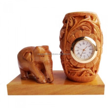 Handmade Wooden Elephant With Pen Holder Watch Table top Gift Set