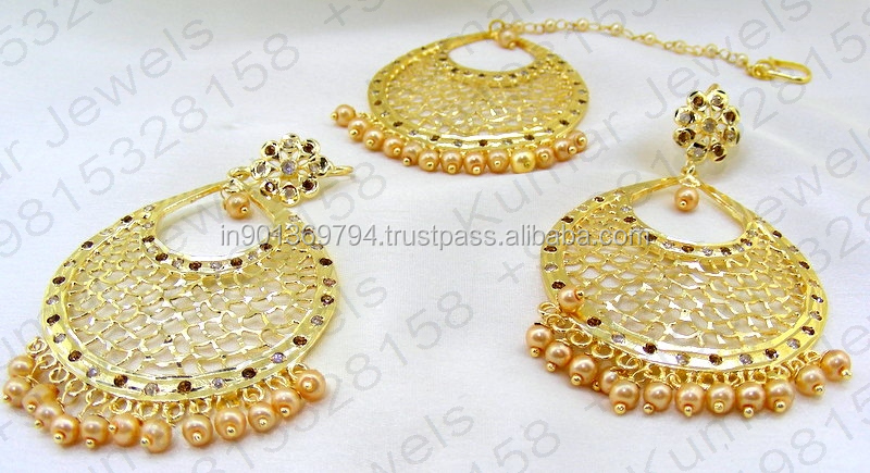Traditional Jadau Filigree Gold Plated Ethnic Light Weight Golden Pearl Beaded CZ Stone Studded Tikka Earrings