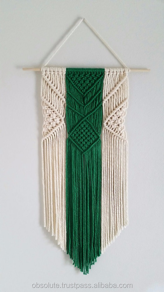 Modern minimalist macrame wall hanging, plant dyed rope, woven tapestry, mural, weaving, long wall decor