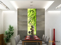 Three Panels Painting Wall Clock, Bamboo for Home Decoration