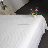 WEISDIN new products wholesale polyester cotton white plain dyed 1cm stripe sateen plaid bed sheet