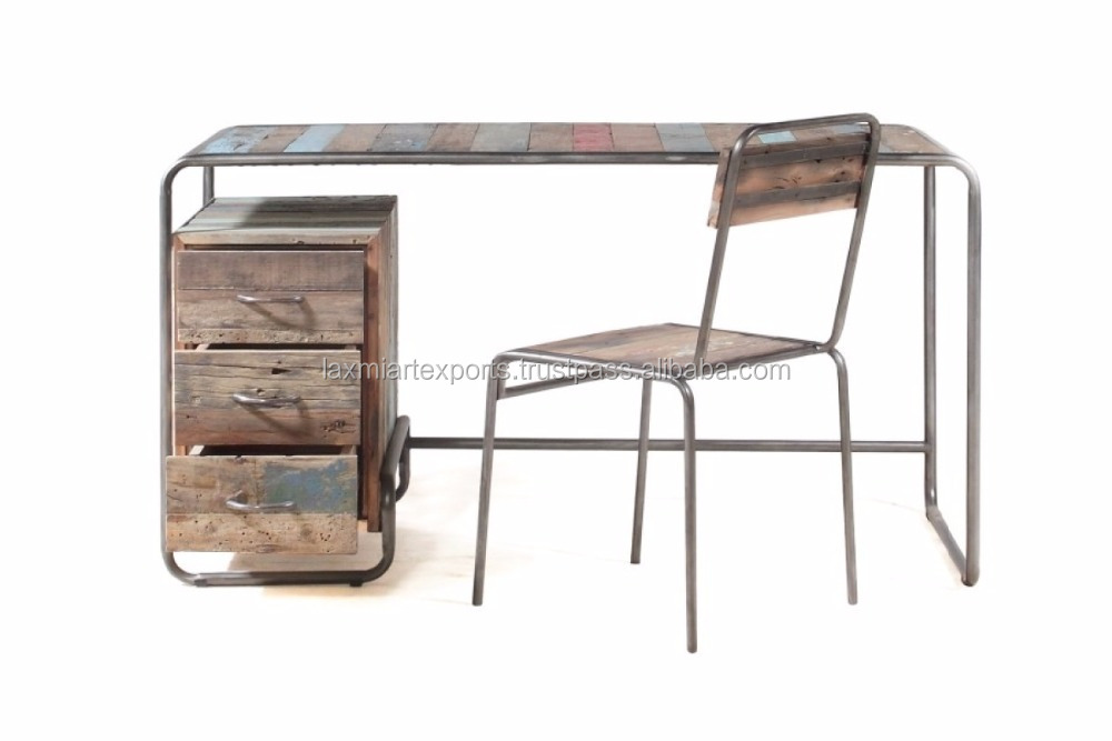 Loft Style industrial Reclaimed Wood 3 Drawer Slim Study Table Office table Manufacturer Wholesale Supplier