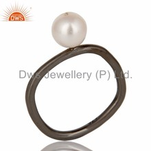 Natural Pearl Gemstone Ring Wholesale Black Rhodium Plated 925 Sterling Silver Rings Manufacturer of Designer Gemstone Jewelry