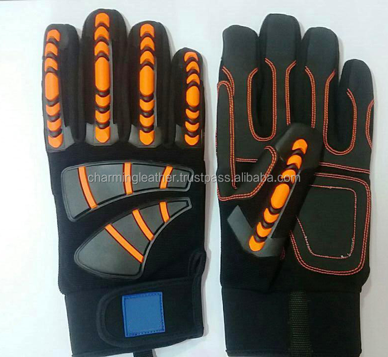 Custom mechanical gloves high impact gloves nitrile coated gloves with TPR