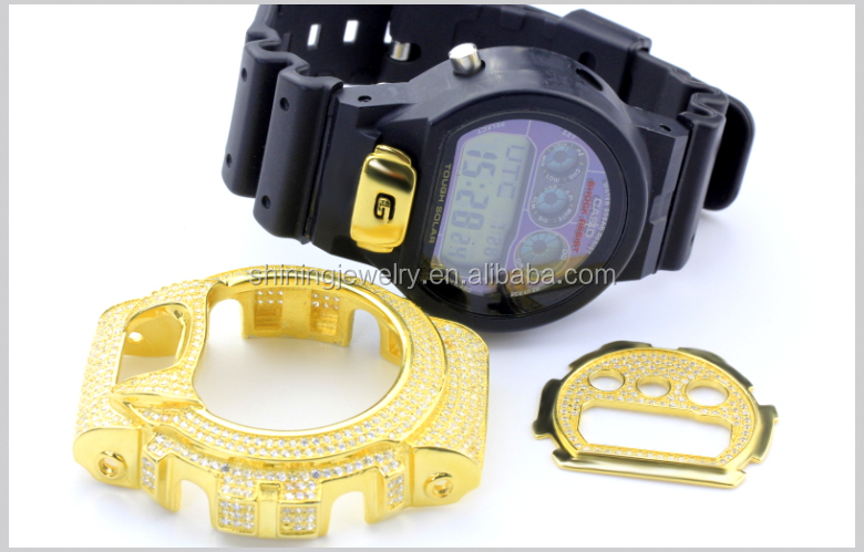 white synthetic diamond lemonade yellow gold genuine watch micro pave factory bezel
