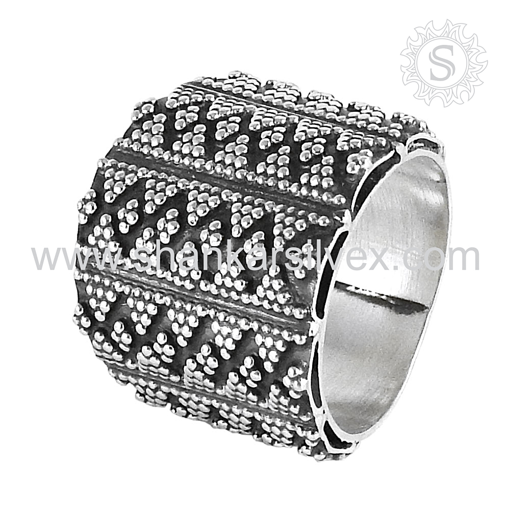 Spectacular Design 925 Sterling Oxidised Ring Wholesale Silver Jewelry Indian Silver Jewelry Sterling