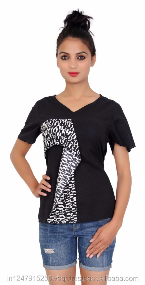 Plain Black Half Sleeves Cotton Women's Top with V- Neck