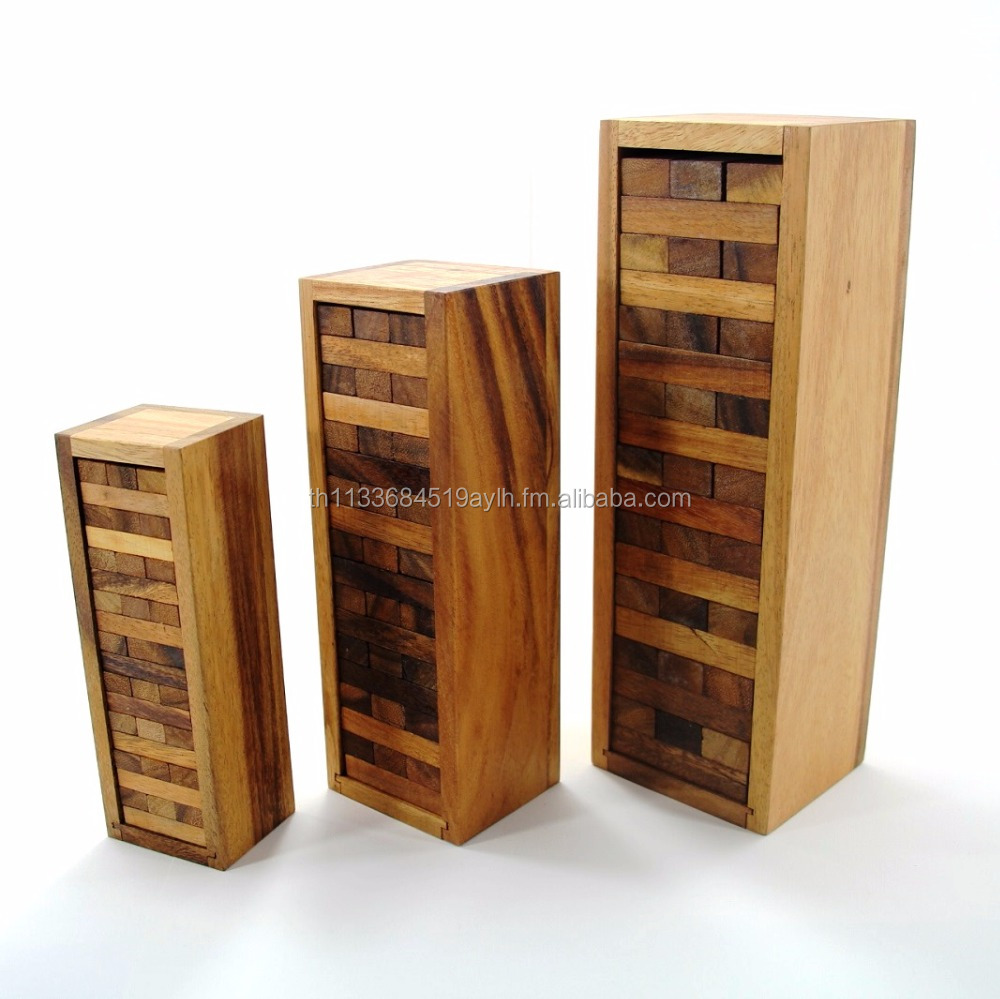Set of 3 Sizes Jenga Games-Classic Wooden Games and Toys,Interlocking Puzzles,Brain Teasers,crafted jigsaws,handmade game