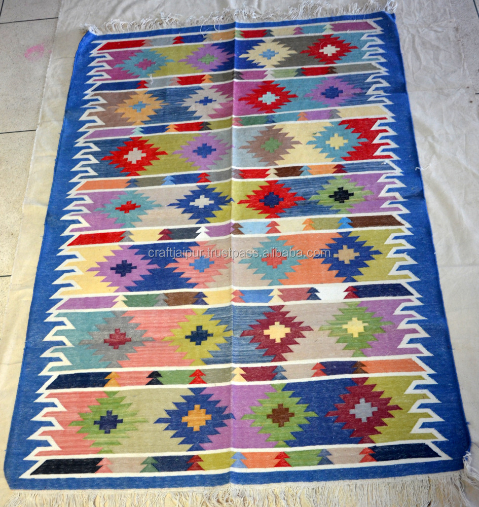 Handmade Indian Culture Geomatrical Design Multi Colour Hand-loom Threads Weaving Area Rug Vintage Manufacturer Cotton Carpet
