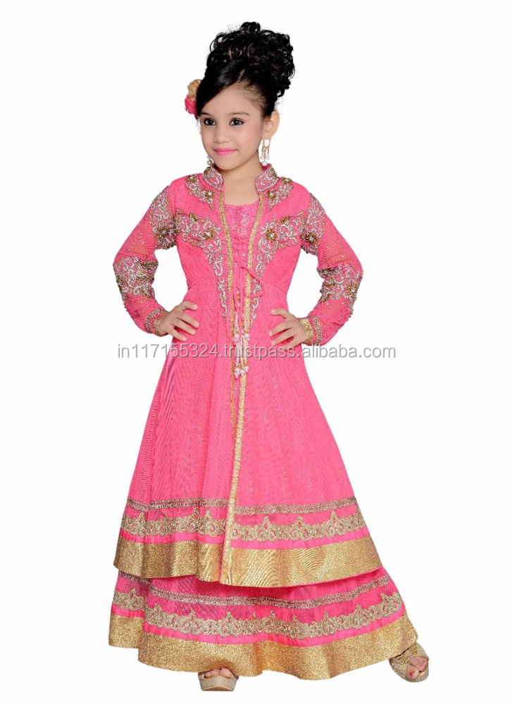 Designer pink anarkali suits - Surat style exclusive anarkali suit - Traditional indian girls kids wear