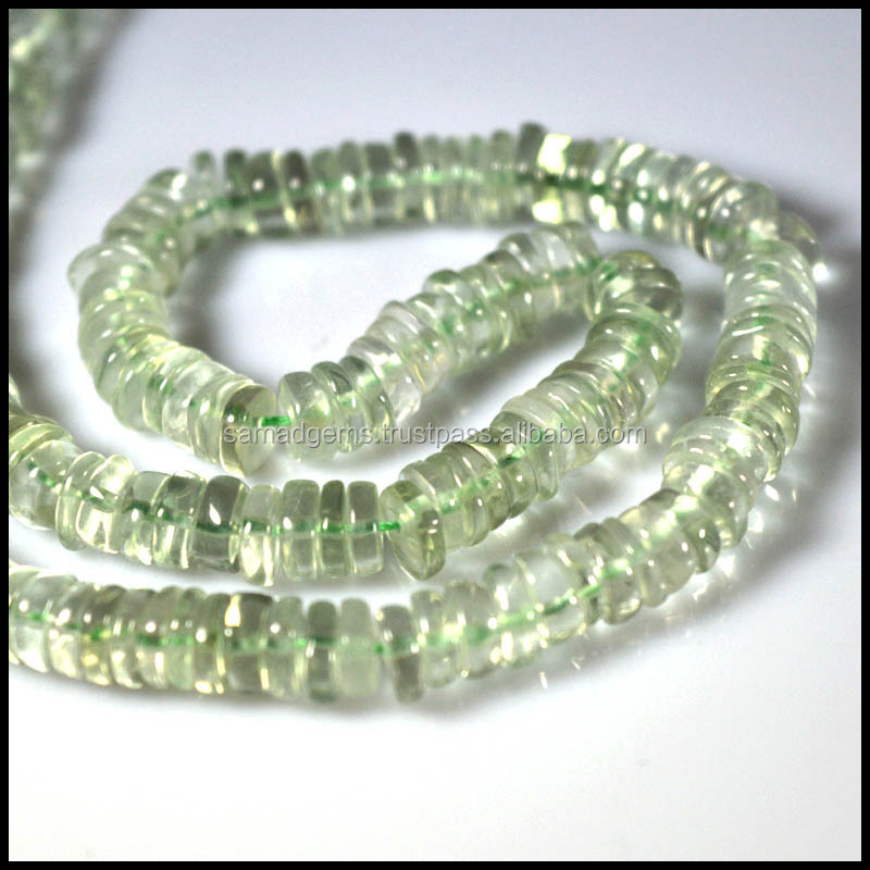 "16"" Natural BEAUTIFUL QUALITY GREEN AMETHYST! Gemstone Tyre Shape smooth beads strand 6-8 mm"