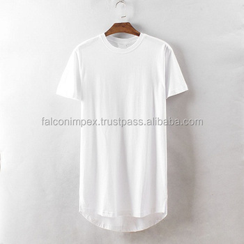 Mens Elongated Plain Cotton T Shirt - 100% Cotton Wholesale ...