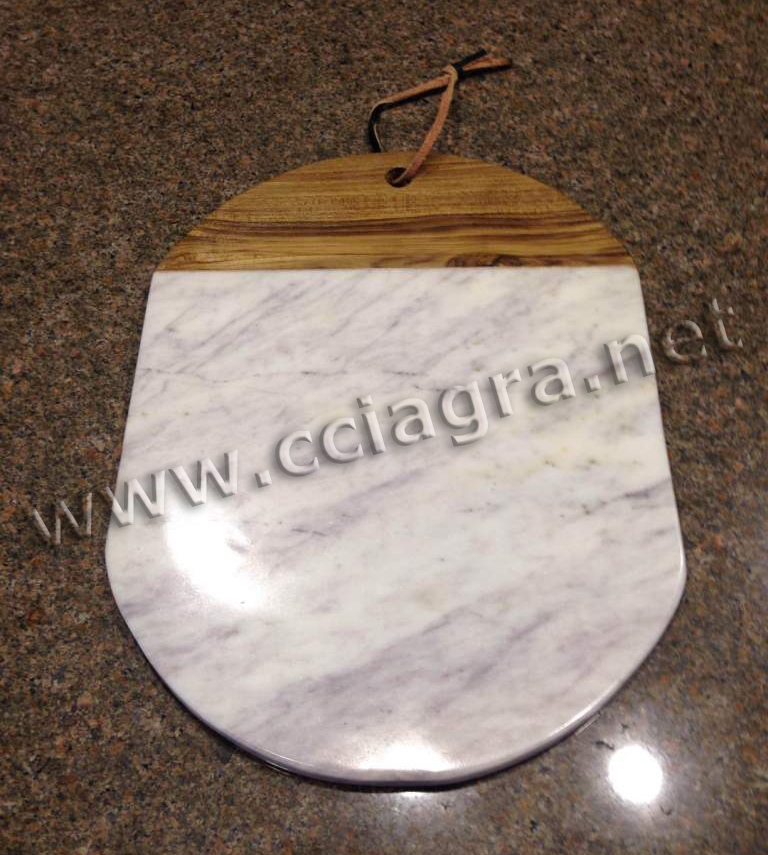 Natural Marble & Wood Cheese Cutting Board Serving Plate Chopping Block