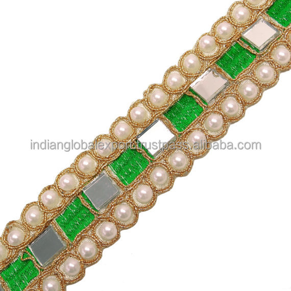 Indian Mirror Pearls Beaded Trim