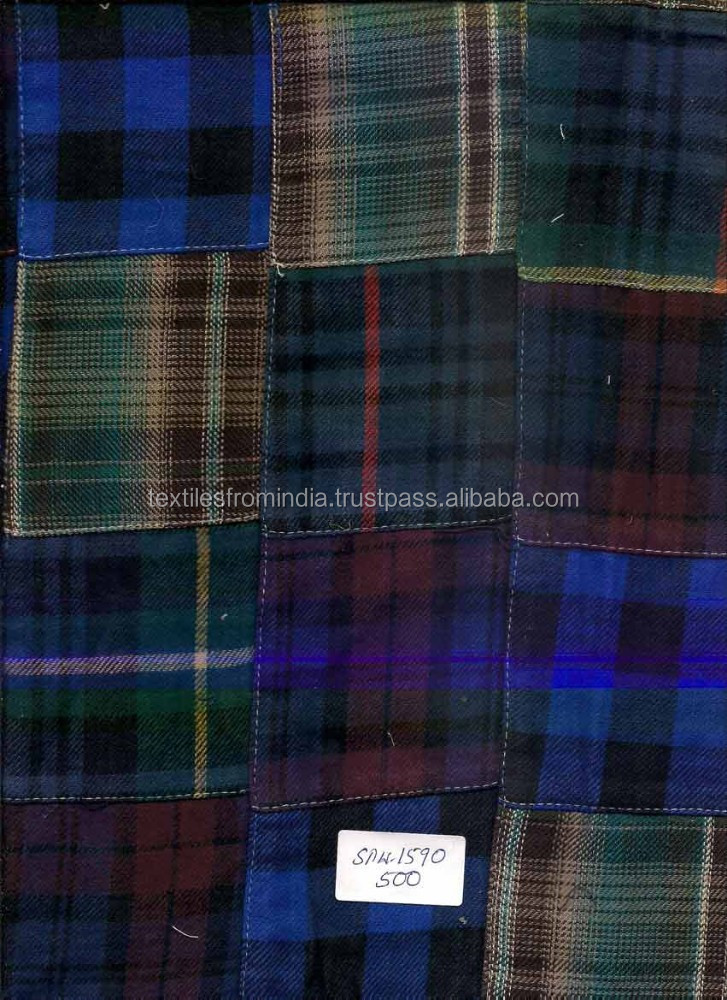 Madras Check Patchwork Fabrics For Duvet Cover
