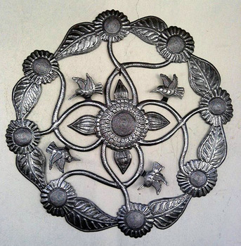 Flowers and Birds Large Wall Decor Haitian Metal Wall Art Wall Decor Haitian Drum Art Handmade Size 60cm