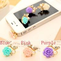 New Cute Rose Flower Pearl Pattern Anti Dust Cap Earphone Plug For Cell Phone #62682