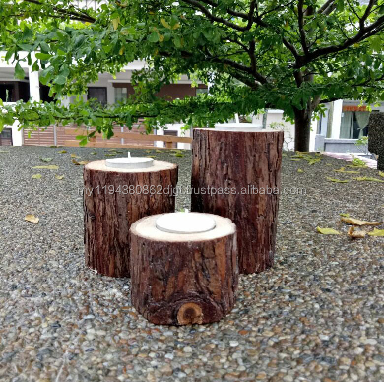 Different size Natural Wooden Tree Tea Light Candle holders