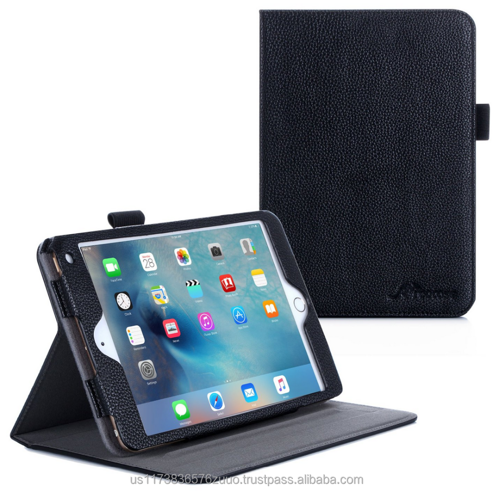 Doble Vista Premium Slim Fit PU Leather Folio Case, Smart Cover Auto Sleep/Wake; interior de la manga para el ipad Mini 4 roocase (negro)