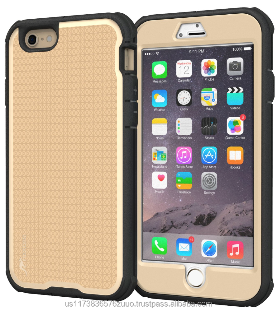 Rugged Armor Full Body Tough hybrid dual layer case for iPhone 6 6s Plus 5.5 Drop protection impact-resistance roocase (gold)