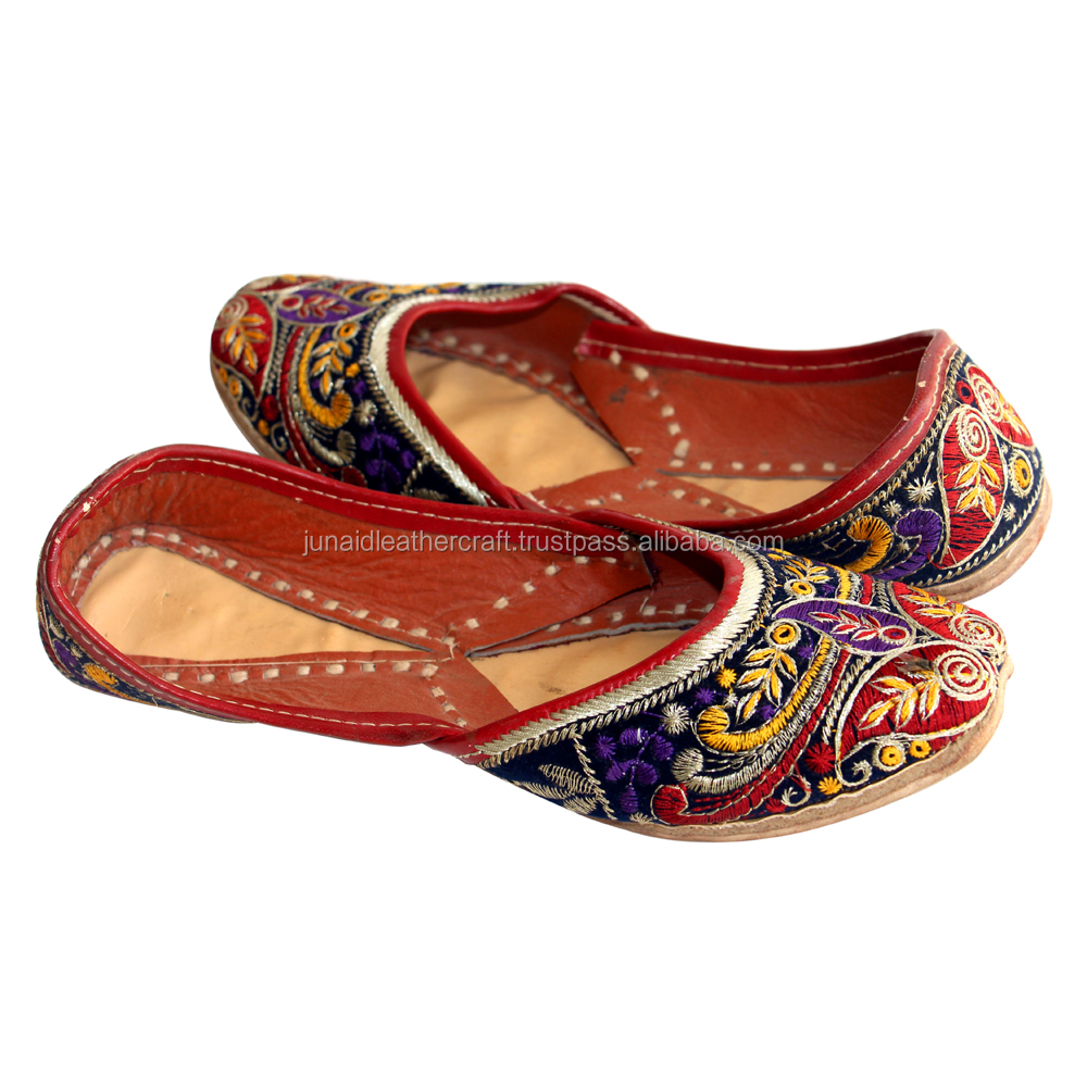 wholesaler for latest ladies multi colour embroidery mojari and women shoes