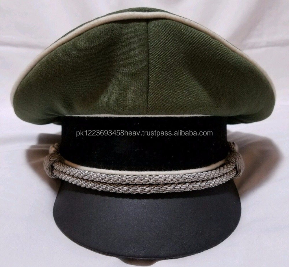 WW2 German Elite officer's crusher hat cap W/Bevo Re Production insignia