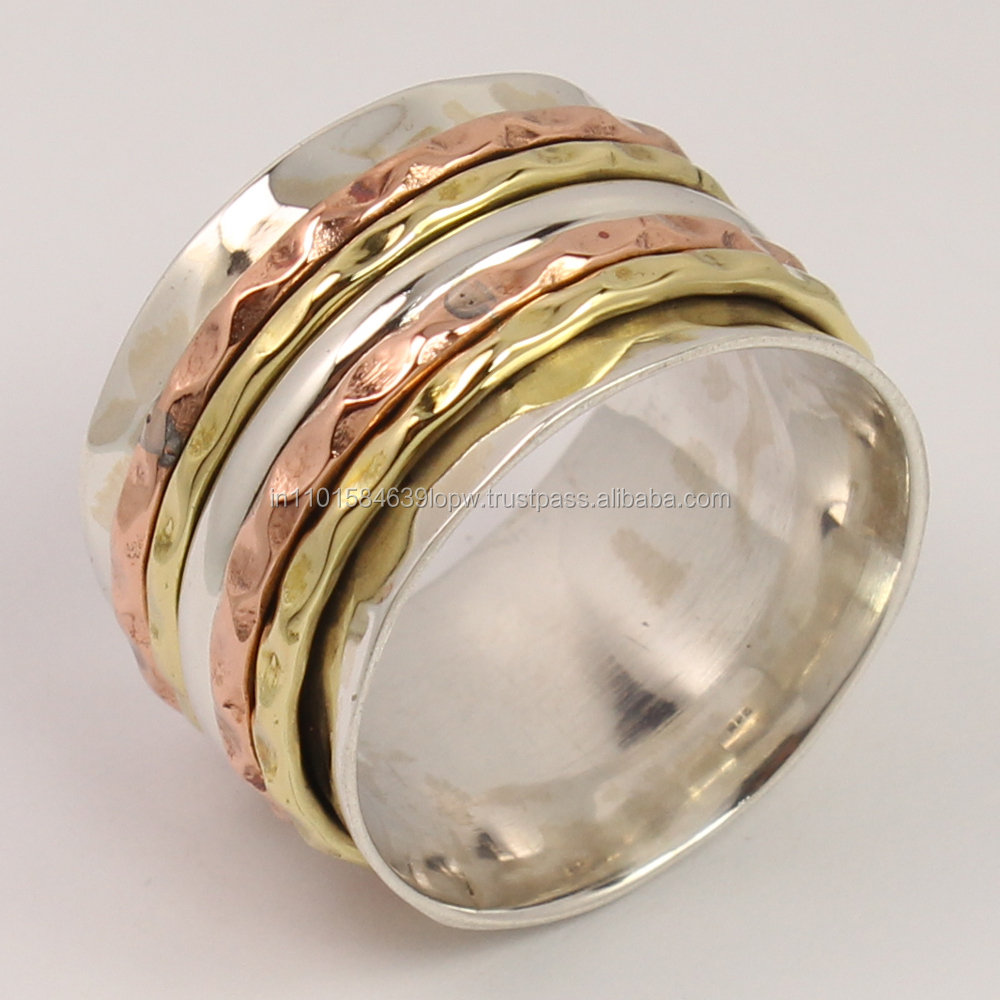 925 Sterling Silver Awesome Ring All Sizes THREE TONE Spinner 15 mm Wide Band ! Wholesale