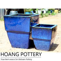 Vietnamese Royal Blue Ceramic Flower Pot / Planter