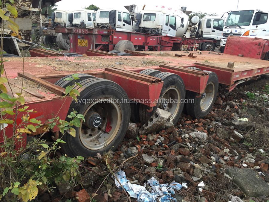 Used 3axle low bed, Second-hand low bed truck trailer excavator trailer, Used Flat Bed Semi Trailer (call:0086-15800802908)