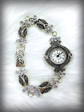 925 silver watch with Swiss marcasite and cubic zirconia