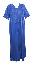 Ladies Women Satin 2 pieces set Nighty Night Gown Night Suit House Coat Night Wear 2906
