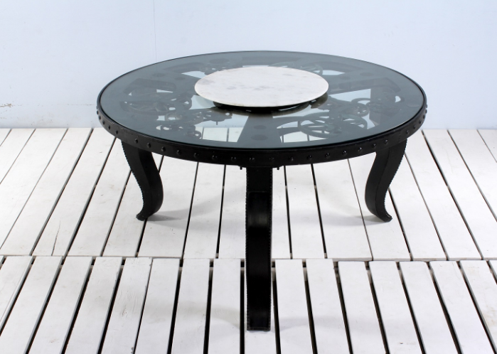 Industrial Bauhaus Quartz Mechanims Round Dining Table With Lazy Susan
