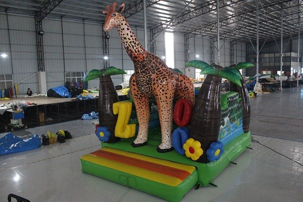 Beautiful forest painting big inflatable palm tree jump bouncer indoor /outdoor inflatable deer bouncer for play