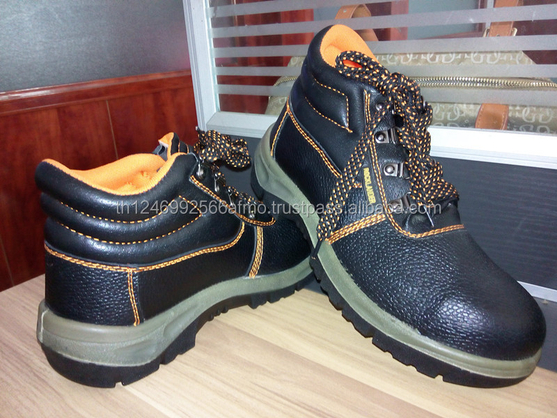 Action leather secure safety boots shoes with steel toe cap